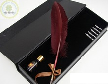 2014 Elegant Quill Feather Pens/Colorful Feather Fountain Pen Gift Set