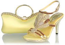 latest design yellow italian evening shoes match bag