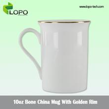 China bone golden rim mug white color