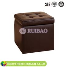 Modern Brown leather storage ottoman footstool