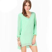 2014 Summer Evening New Desigual Feminine Fashion Mint Green Split Sleeve V Neck Loose Chiffon Dress