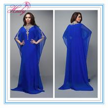 hd2039 Neuankömmlinge chiffon langarm perlen marokkanische kaftan kleid für frau abendkleid