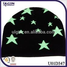Top sale knit children hat green Star Cotton Hat