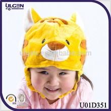 2014 cute tiger shaped earflap kids fleece hat patterns