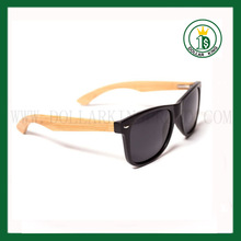 Plastic Black matte Bamboo half Temple sunglasses with Polarzied black lens