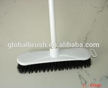 HQ0005 hard bristle plastic floor brush with long metal stick brush factory provide