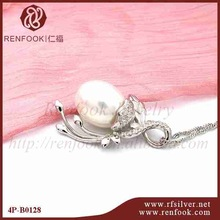 RenFook Factory direct sale 925 sterling silver high polished bails pearl pendant