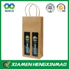 China made 2 bottle kraft wine bag with window,paper bag , cheap brown paper bags with handles