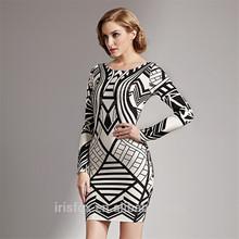 Empire style dress pattern long sleeve celebrity bandage bodycon dress wholesale