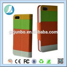 Colorful leather belt clip flip wallet case for iphone 5