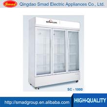 upright glass door supermarket commercial refrigerator