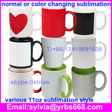 Shenzhen factory 11oz dye sublimation mugs wholesale price black white sublimation mug