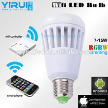 wifi light bulb adapter ,10W E27/E26 AC100-240V 1000LM RGBW wifi led bulb with 3-5 year warranty