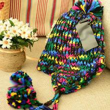 womens colour mixture knit earflap hats with pompoms