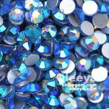 Wholesale! Fashion Design Round It. Sapphire AB Glass Non Hot Fix Flat Back Crystal Diamonds Rhinestones for Clothing Hat