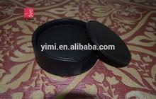 Black PU leather drink cardboard coaster for promotion