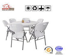 6 seater round plastic camping folding tables and set