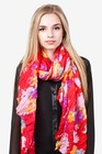 fashionable design floral garden cotton scarf with red color