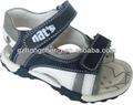 2014 de cuero azul marino blanco sandalia zapatos para niños