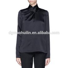 De alta qualidade elegante senhora do escritório manga comprida preta de cetim camisas