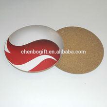Custom made round cork coaster / art paper printing cork cup pad