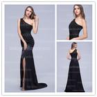 2014Latest Design High Quality Wholesale Turkish China Long One-Shoulder Satin Side Slit Applique Best Long Black Evening Dress