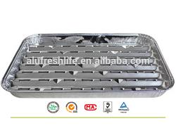 100% Food Grade large rectangular Disposable biodegradable BBQ plate,Aluminum Foil Container