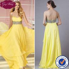 Goingwedding Custom Made Evening Gown Prom Gown Maternity Prom Dresses Yellow Evening Dress Yellow Chiffon Dress 2014 PM113