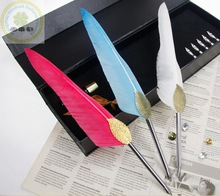 Hot Popular Business Feather Pen Gift Set/2014 Alibaba Professional Feather Pen Set