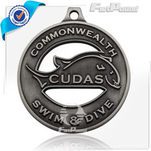 Antique silver dolphin swim&dive medal