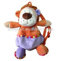 2014 cute soft plush lion backpacks