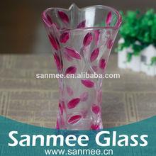Machine Pressed Rose Pattern Spray Color Decorative Glass Vase