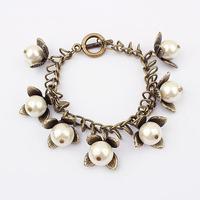 Lovely pearl jewelry fashion bracelets beats jewelry flower shaped brass alloy pearl bangles PB1781
