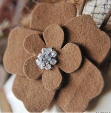 new designs handmade rhinestone center petals felt flower for kids dresses