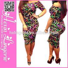Hexin Custom Printing fat women elegant women casual dress