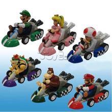 Super Mario Bros Set of 6pcs Mini Kart Pullback Figures PVC Dolls Toys