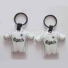 T shirt shaped soft PVC LED light keychain