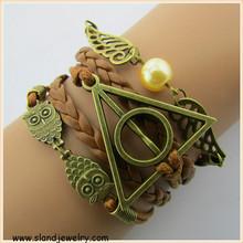 owls, wing, gold bead & best friend Charm Bracelet in Bronze - Personalized Friendship bracelets - Customize diy bracelets