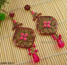 4*9.5cm Hot Pink Big Earrings Long Flower Stud Jewelry Earrings
