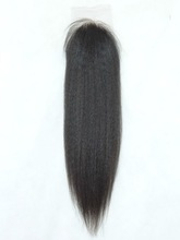 CHINA MR HAIR !2014 hot 24'' nature color yaki straight brazilian virgin hair closure