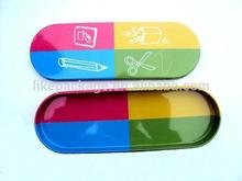 oval shape pencil tin box/ sewing kit tin box