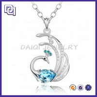 2014 HOT WHOLESALE PENDANT NECKLACES/ROMATIC WEDDING JEWELLERY DESIGNS/ ATTRACTIVE CRYSTAL STONE PEACOCK PENDANT NECKLACE