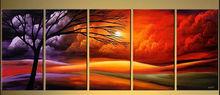Handmade multi panel oil painting abstract design tree