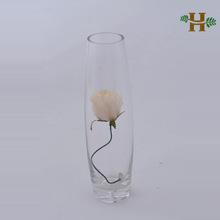 Handmade clear round glass vase, shell shaped single flower vase