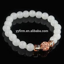 Y0708016 White agate beaded bracelet bangle, 18cm bright orange rhinestone beads transparent beads natural stone bracelet