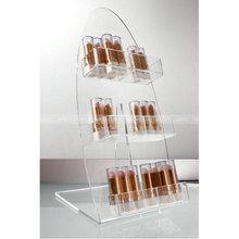 Slanted 3 tiers Acrylic lip balm Display Holder, slant back clear lip gloss display stand, Clear angled cosmetic lipstick rack