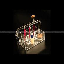 8 slot Acrylic make up caddy organizer easy lifting clear acrylic cosmetic organizer basket