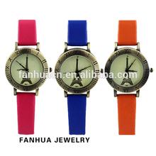 Hot Sale Eiffel Tower Printed Women Wholesale Quartz Wrist Watch