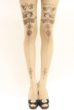 Spandex legs stockings tattoo black and white lace clouds legging