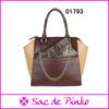 Trendy office handbag with cosmetic bag vintage brown leather handbag